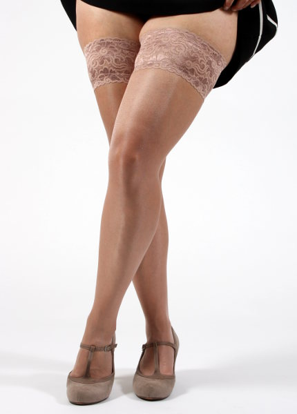 Silky Super Shine Lace top Hold up XL Stay-ups X-Large / XL-Legs.com